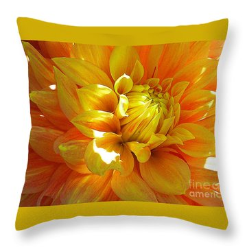 The Heart Of A Dahlia Throw Pillow