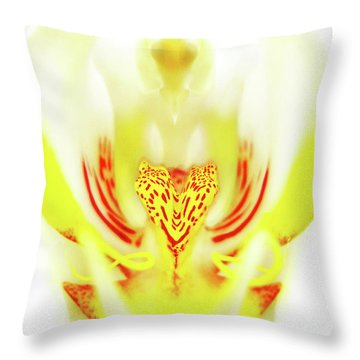 Throw Pillow featuring the photograph The Heart Of An Alien-orchid by Jennie Breeze