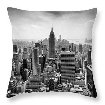 New York City Skyline Bw Throw Pillow by Az Jackson