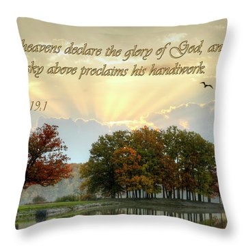 Throw Pillow featuring the photograph The Heavenly Morning Card by Ann Bridges
