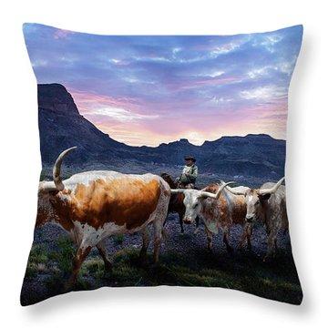 Texas Longhorns Blue Throw Pillow