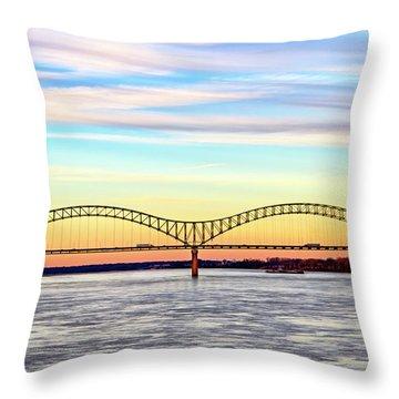 The Hernando De Soto Bridge Throw Pillow