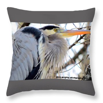 The Heron In Winter  Throw Pillow