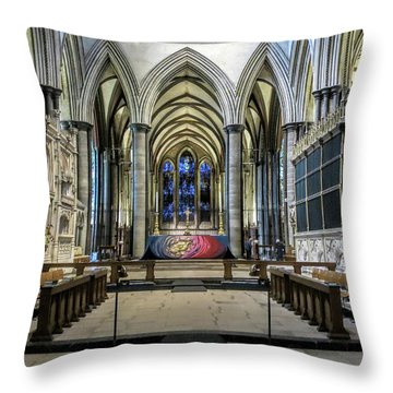 The High Altar In Salisbury Cathedral Throw Pillow