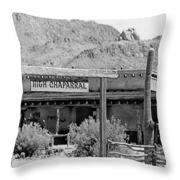 The High Chaparral Set With Sign Old Tucson Arizona 1969-2016 Throw Pillow