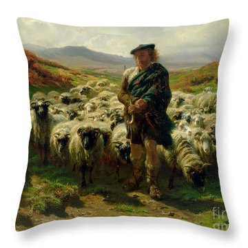 The Highland Shepherd Throw Pillow by Rosa Bonheur