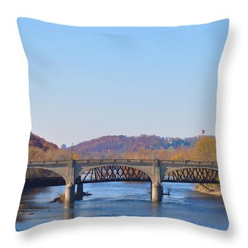 The Hill To Hill Bridge - Bethlehem Pa Throw Pillow by Bill Cannon