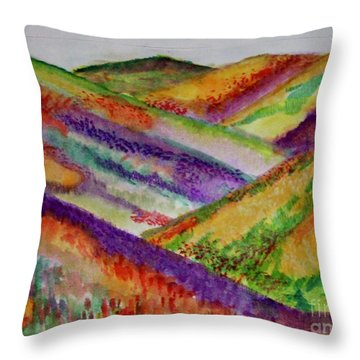 Throw Pillow featuring the painting The Hills Are Alive by Kim Nelson