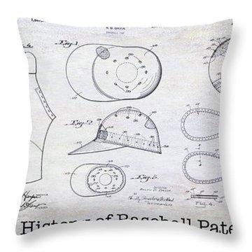 The History Of Baseball Patents Throw Pillow by Jon Neidert
