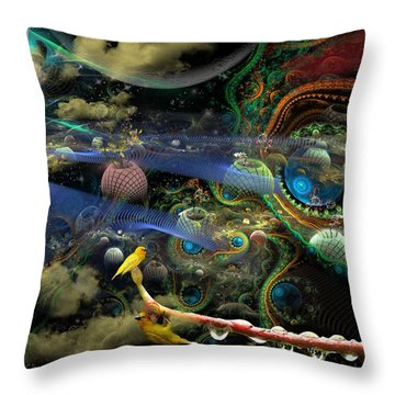 The History Of The Bioluminoidal Fractalization Process Throw Pillow