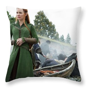The Hobbit The Battle Of The Five Armies Evangeline Lilly Orlando Bloom Throw Pillow