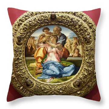 The Holy Family - Doni Tondo - Michelangelo - Round Canvas Version Throw Pillow