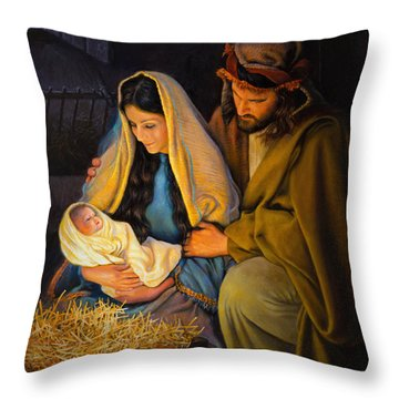 Throw Pillow featuring the painting The Holy Family by Greg Olsen