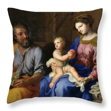 The Holy Family Throw Pillow by Jacques Stella