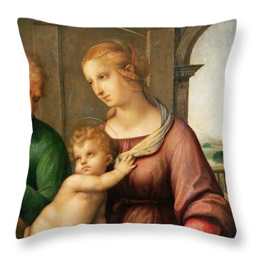 The Holy Family Throw Pillow by Raphael