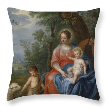 The Holy Family With John The Baptist And The Lamb Throw Pillow
