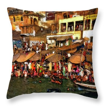 The Holy Ganges Impasto Throw Pillow by Steve Harrington