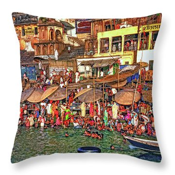 The Holy Ganges Throw Pillow by Steve Harrington