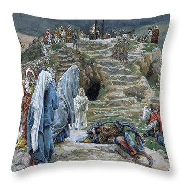 The Holy Women Stand Far Off Beholding What Is Done Throw Pillow by James Jacques Joseph Tissot
