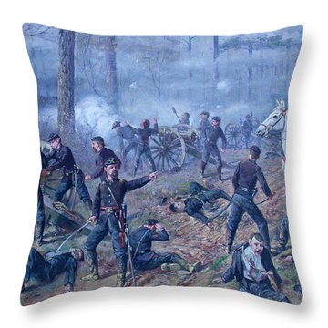 Throw Pillow featuring the painting The Hornets' Nest by Thomas Corwin Lindsay