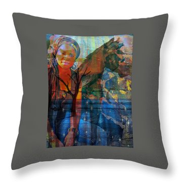 The Horse And Me Throw Pillow by Fania Simon