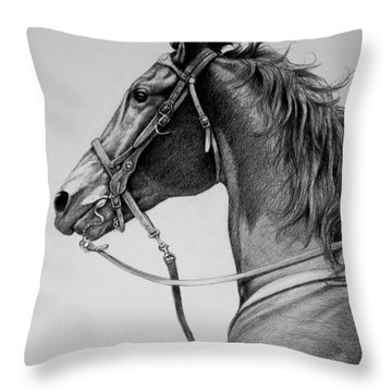 Throw Pillow featuring the drawing The Horse by Harvie Brown