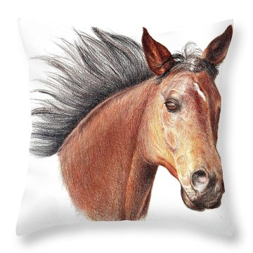 Throw Pillow featuring the drawing The Horse by Mike Ivey