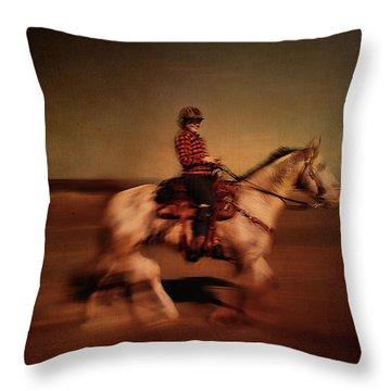 The Horse Rider Throw Pillow