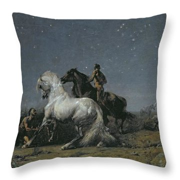 The Horse Thieves Throw Pillow by Ferdinand Victor Eugene Delacroix