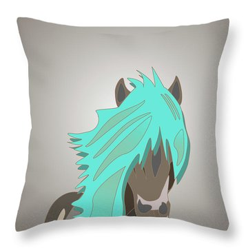 The Horse With The Turquoise Mane Throw Pillow