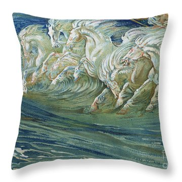 The Horses Of Neptune Throw Pillow