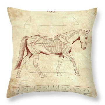 The Horse's Walk Revealed Throw Pillow by Catherine Twomey