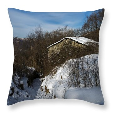Throw Pillow featuring the photograph The House On The Barego Hills With Snow by Enrico Pelos