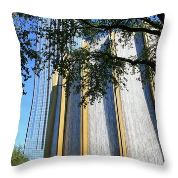 The Houston Water Wall And Williams Tower Throw Pillow