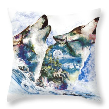Throw Pillow featuring the painting The Howl by Sherry Shipley
