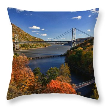 The Hudson River Valley In Autumn Throw Pillow by June Marie Sobrito