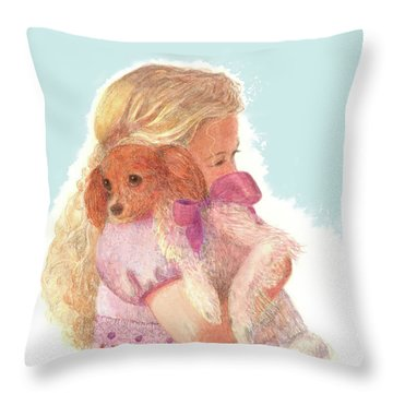 Throw Pillow featuring the painting The Hug by Nancy Lee Moran