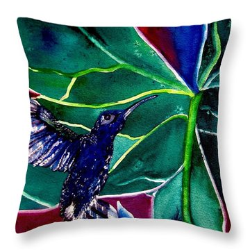 Throw Pillow featuring the painting The Hummingbird And The Trillium by Lil Taylor
