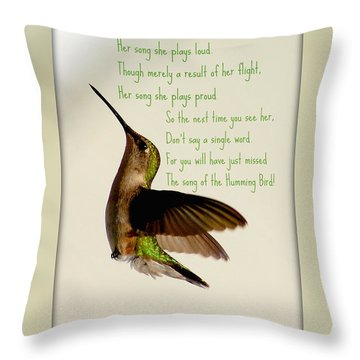 Throw Pillow featuring the photograph The Hummingbird by Donna Bentley