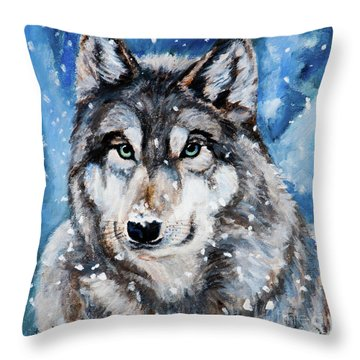 Throw Pillow featuring the painting The Hunter by Igor Postash