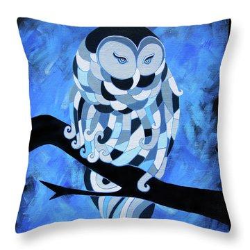 The Ice Owl Throw Pillow
