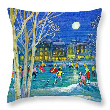 The Iceskaters Throw Pillow