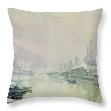 The Ile Lacroix Under Snow Throw Pillow by Albert Charles Lebourg