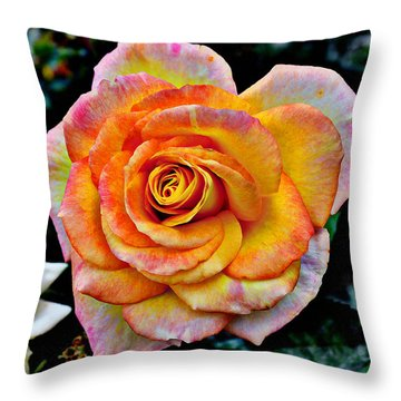 Throw Pillow featuring the mixed media The Imperfect Rose by Glenn McCarthy