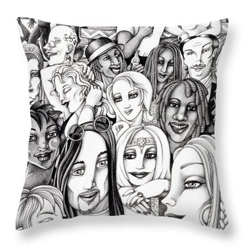 Throw Pillow featuring the drawing The In Crowd by Valerie White