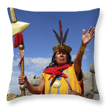 The Inca At Sacsayhuaman Throw Pillow by James Brunker