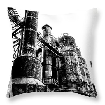 The Industrial Age At Bethlehem Steel In Black And White Throw Pillow by Bill Cannon