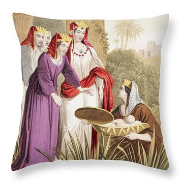 The Infant Moses Is Found In The Throw Pillow