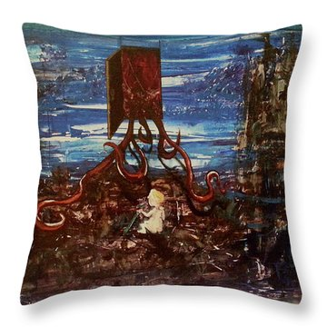 Throw Pillow featuring the painting The Inhuman Condition by Reed Novotny