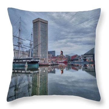 Throw Pillow featuring the photograph The Inner Harbor On A Sunday Cloudy Morning by Mark Dodd